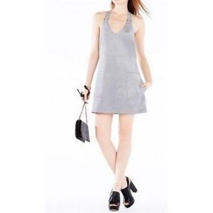 BCBG light blue/gray faux suede halter dress
